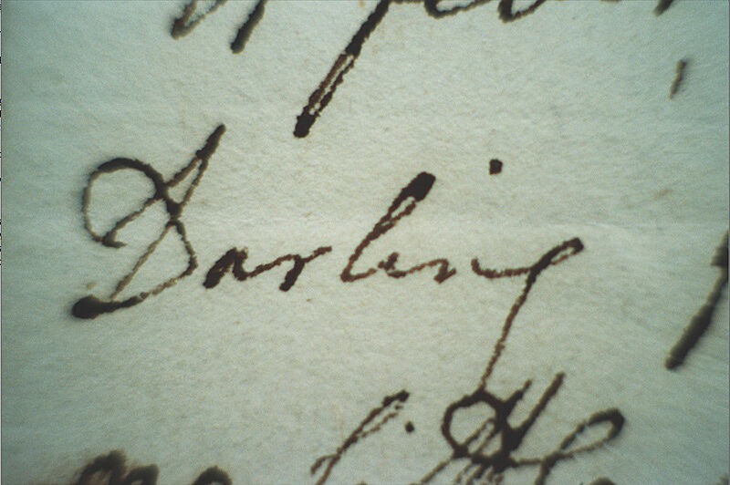 """Written """"Darling"""" on the paper."""
