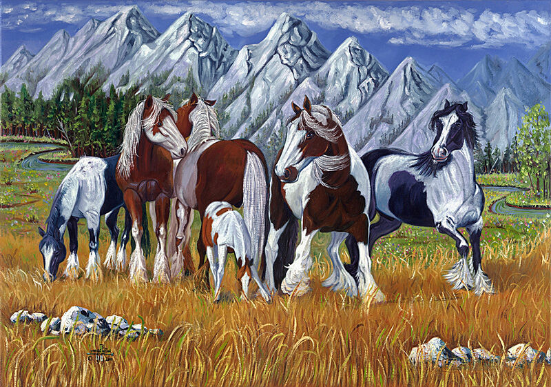 A painting of horses in a mountainous landscape.