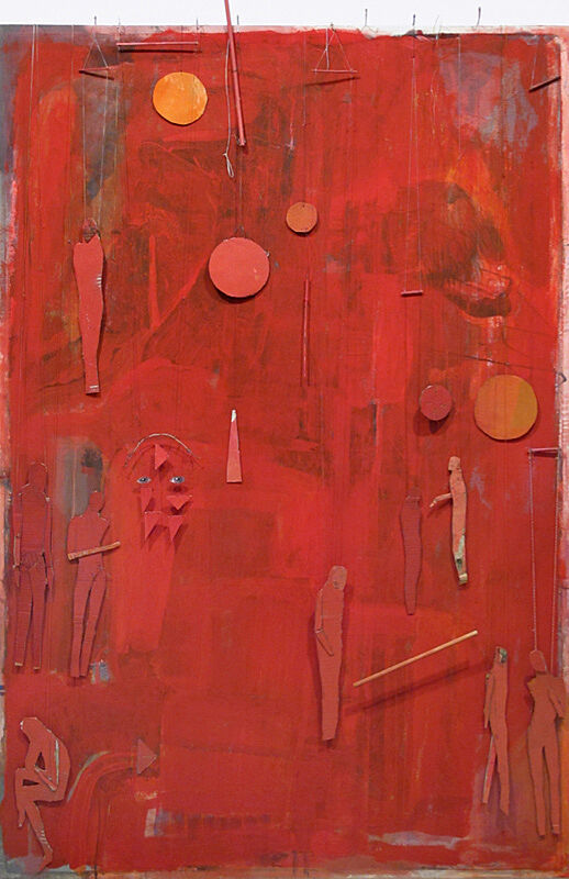 A mixed media artwork of a red color field and various circus and silhouettes.