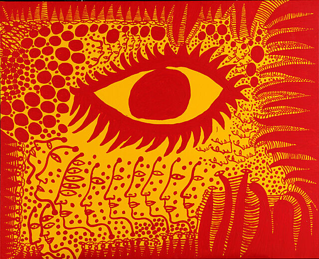 A painting of a large eye, faces, and patterns.