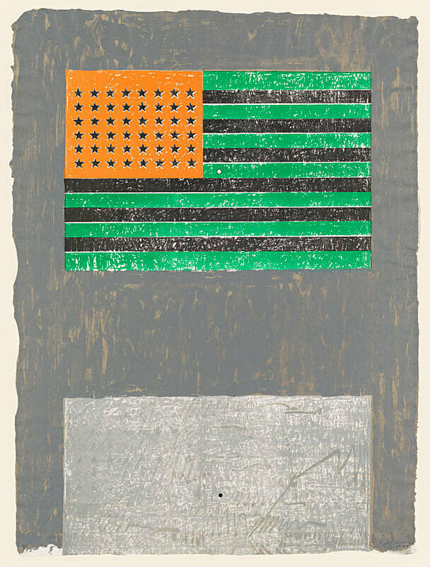 A painting by Jasper Johns. An American flag whose colors are inverted, green for red, orange for blue, and black for white.