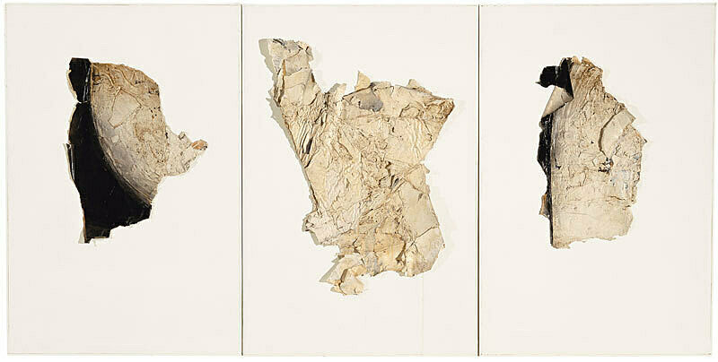 A triptych painting of fragments.