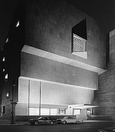 Black and white photo of the Breuer building.