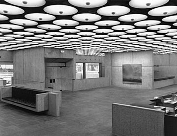 Lobby of the Breuer building in black and white