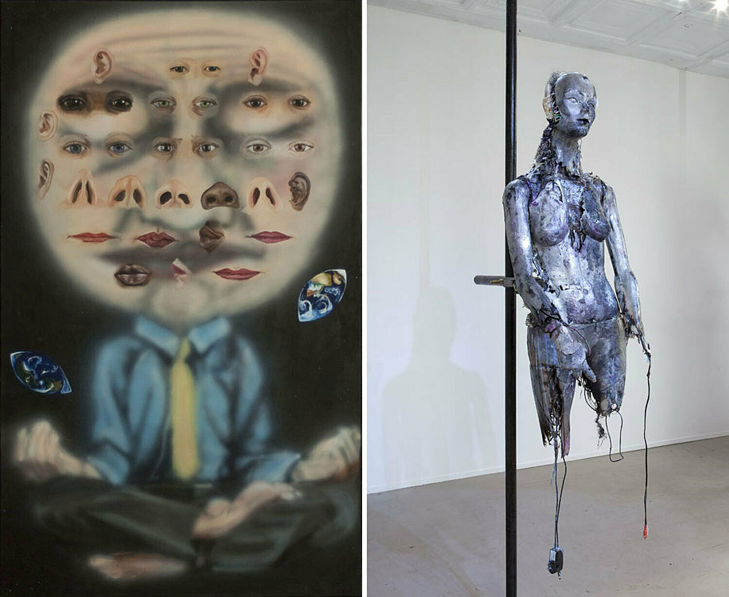 A painting by Jana Euler and a sculpture by Stewart Uoo. Both depict figures.