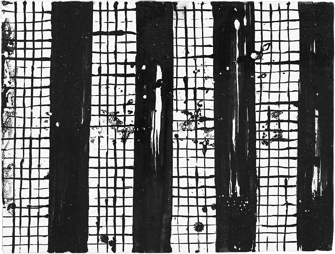 An abstract image by Nick Mauss. Strong black vertical stripes, with thin stripes forming a grid