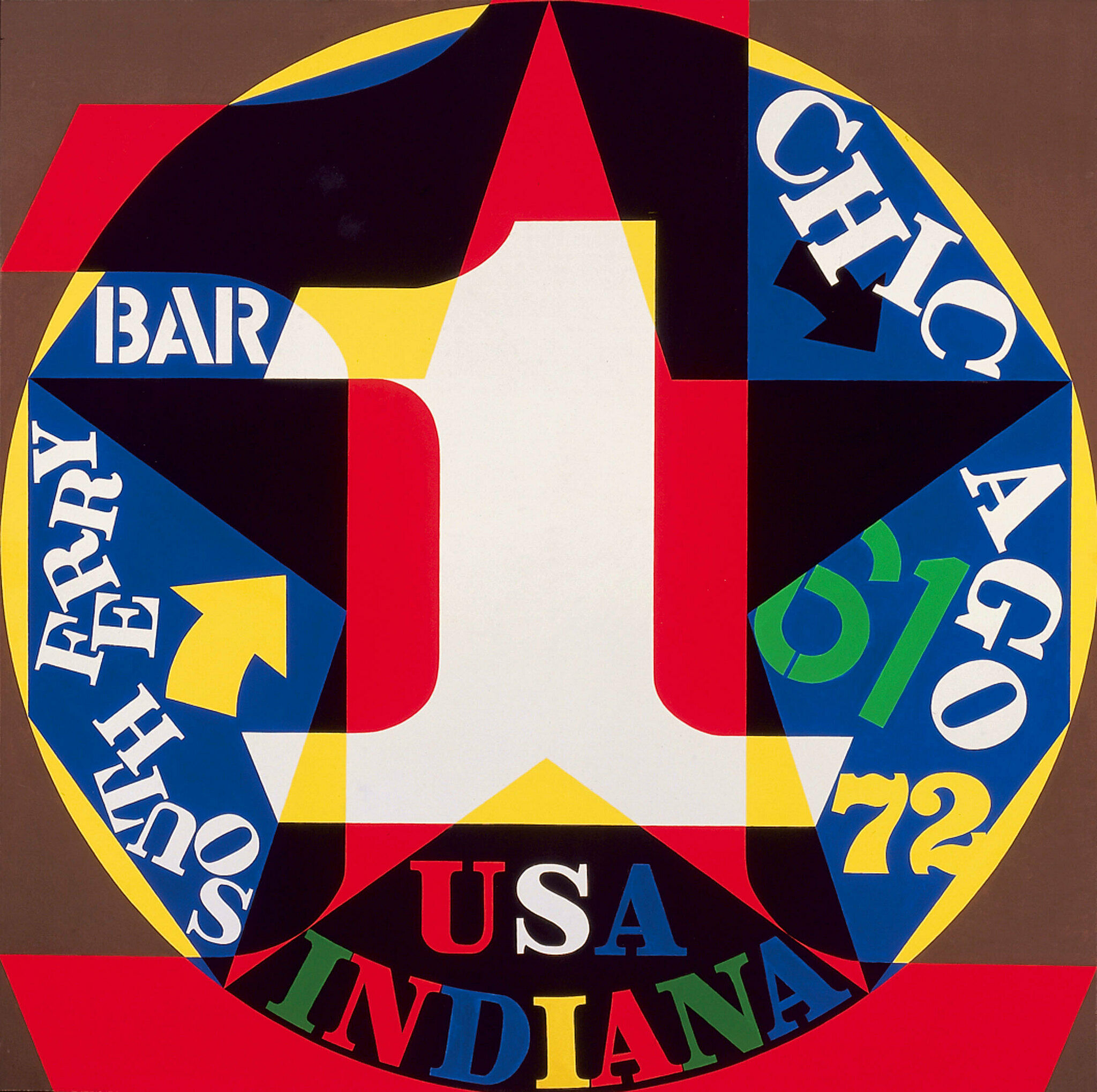 An abstract painting by Robert Indiana with the words Chicago, Bar, and South Ferry.