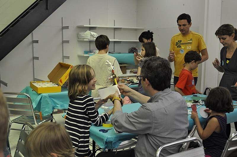 Families work in the studio