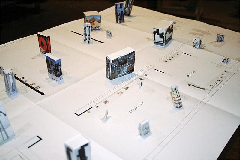 Cubed models on a floor plan.