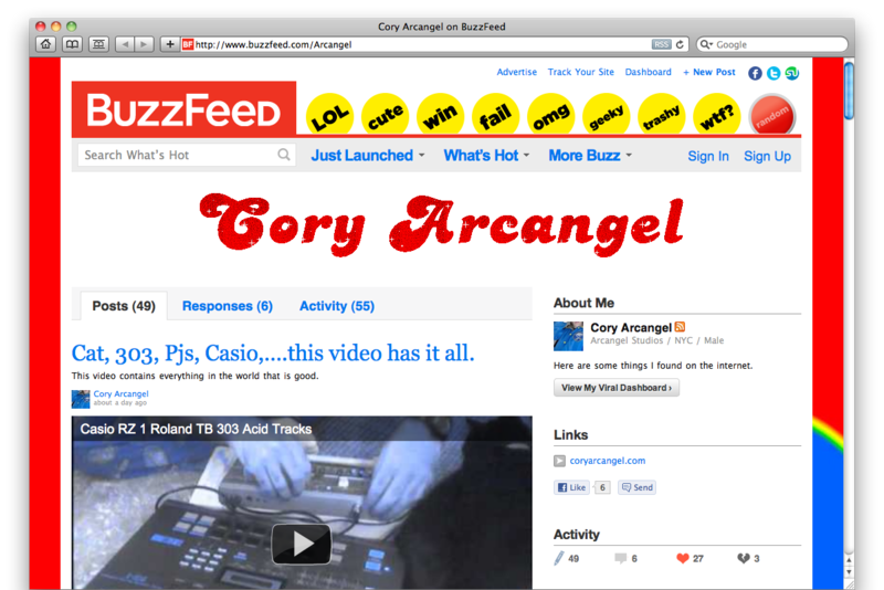 Buzzfeed screenshot featuring Cory's name and work.