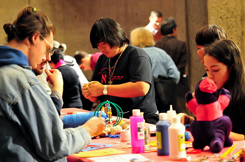 Students working on crafts.