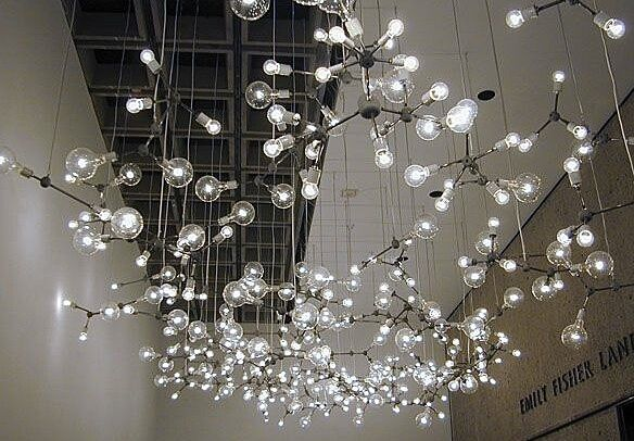 Light installation hanging from the ceiling.