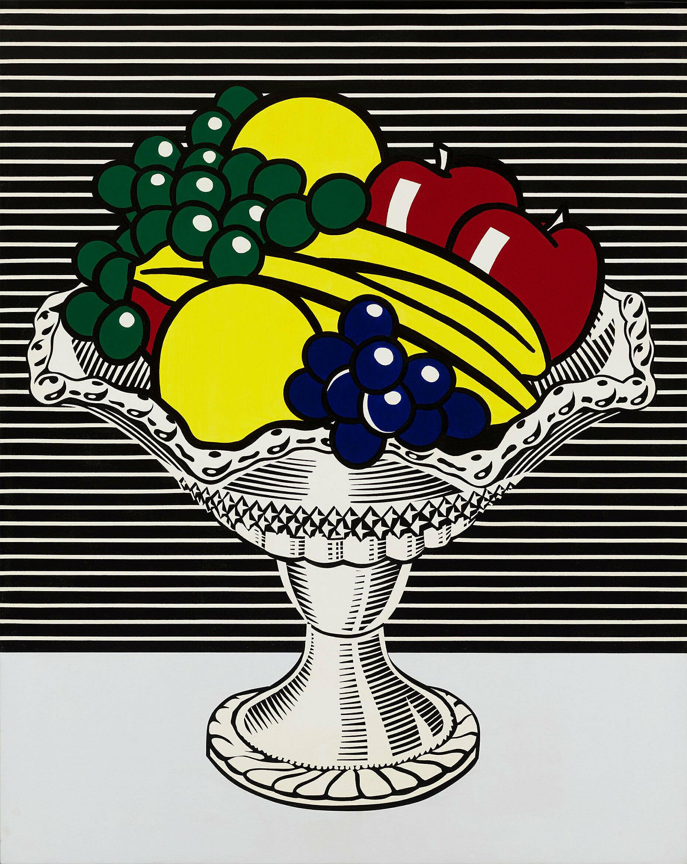 A pop still life of a bowl of fruit by Roy Lichtenstein