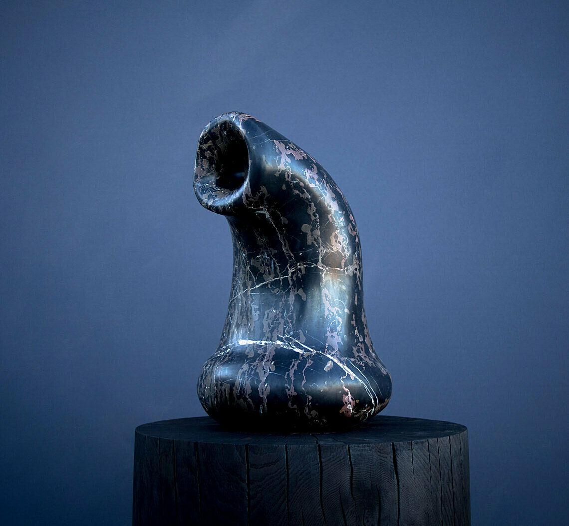 A black sculpture.