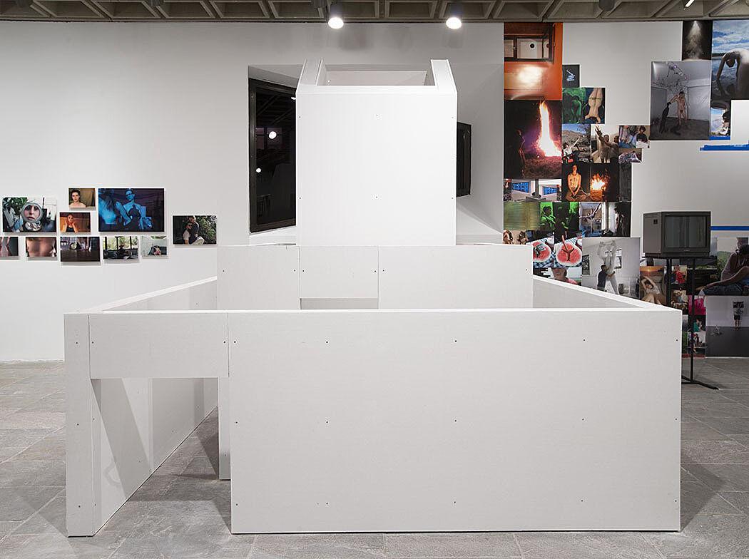 A white sculptural installation.