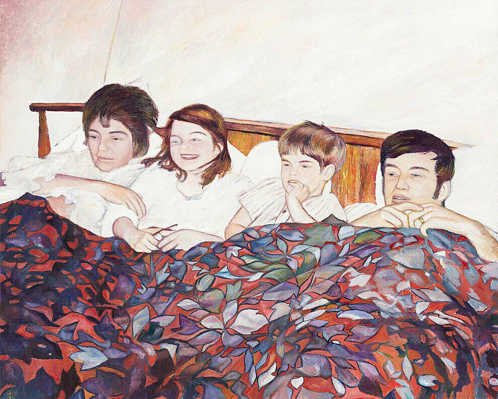 A drawing of 4 persons lying in one bed.