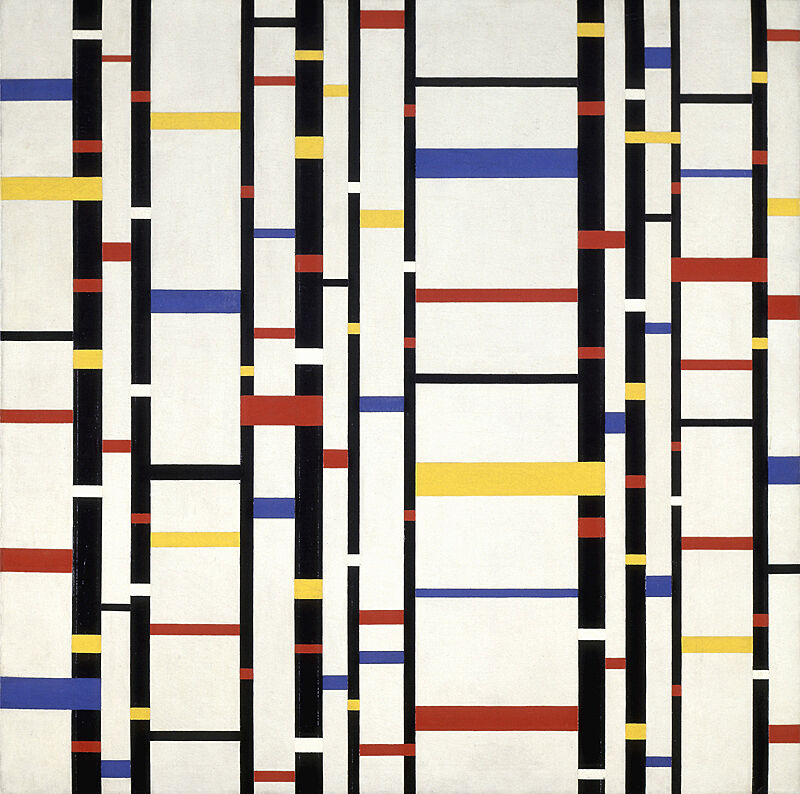 A painting of black, yellow, red, and white lines and rectangles.
