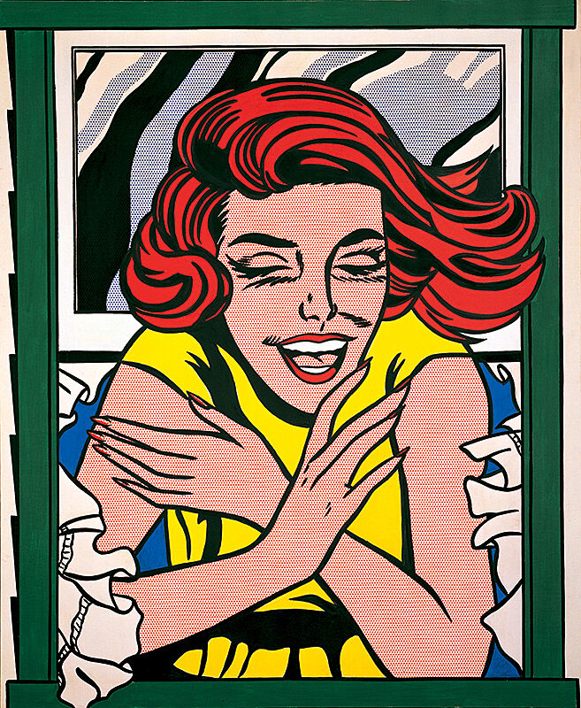 A Pop art painting of a woman smiling through a window.