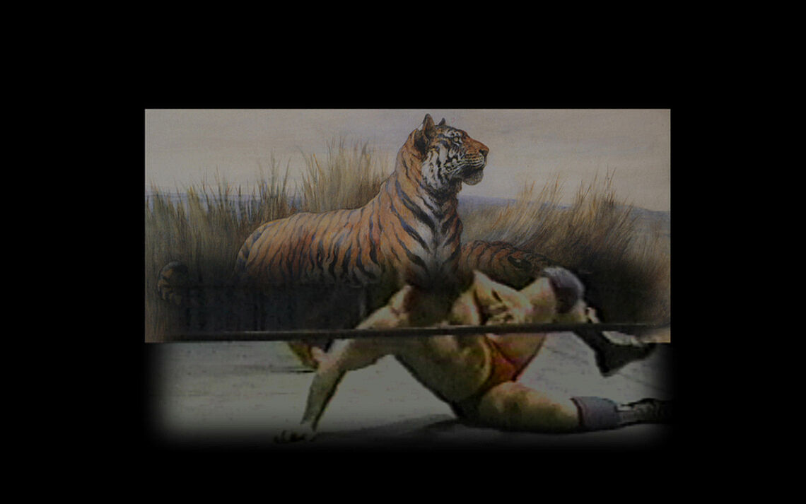 A still of a video of a tiger and a man.