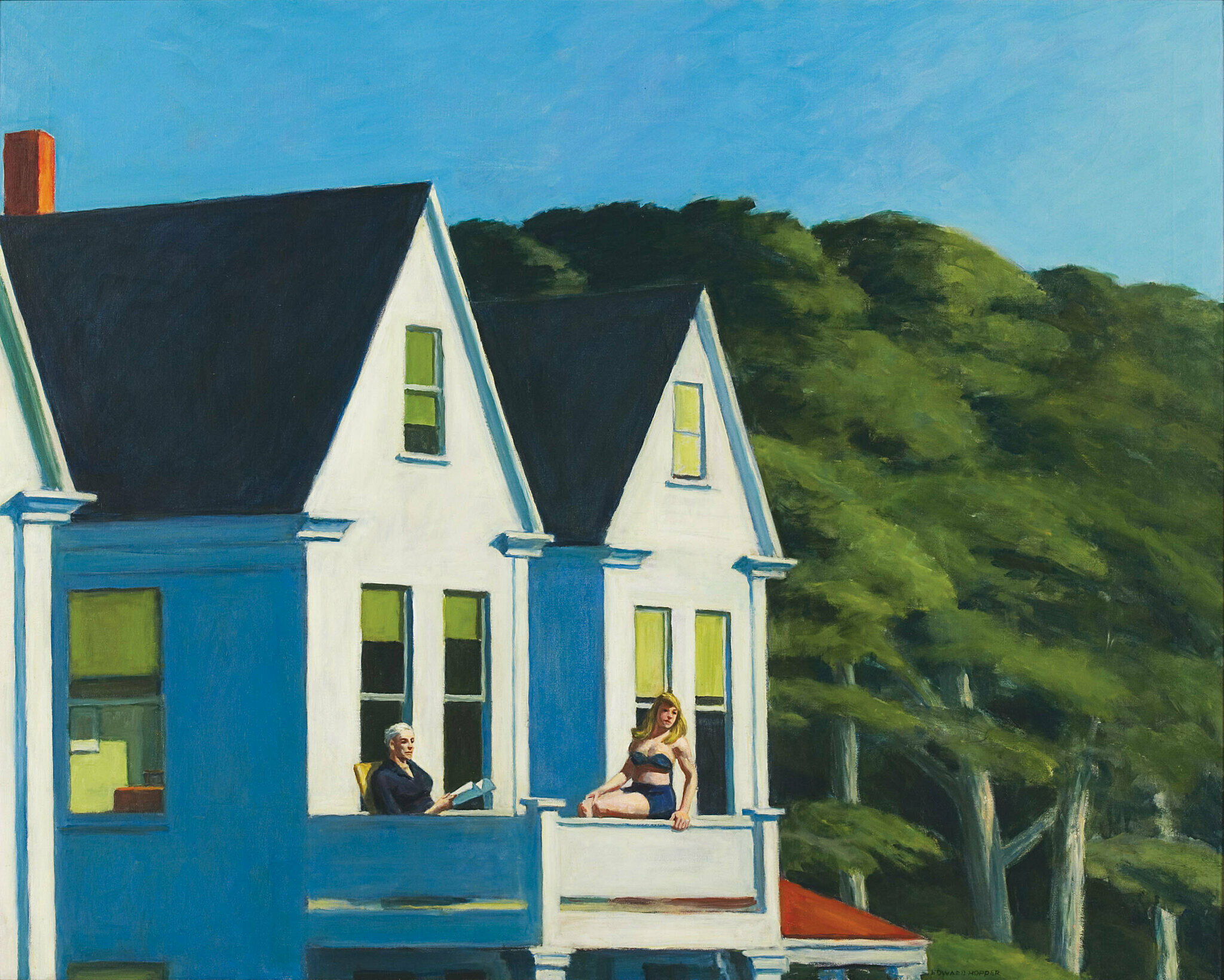 A painting by Edward Hopper. A woman and man sit in the sun on a second-story balcony.