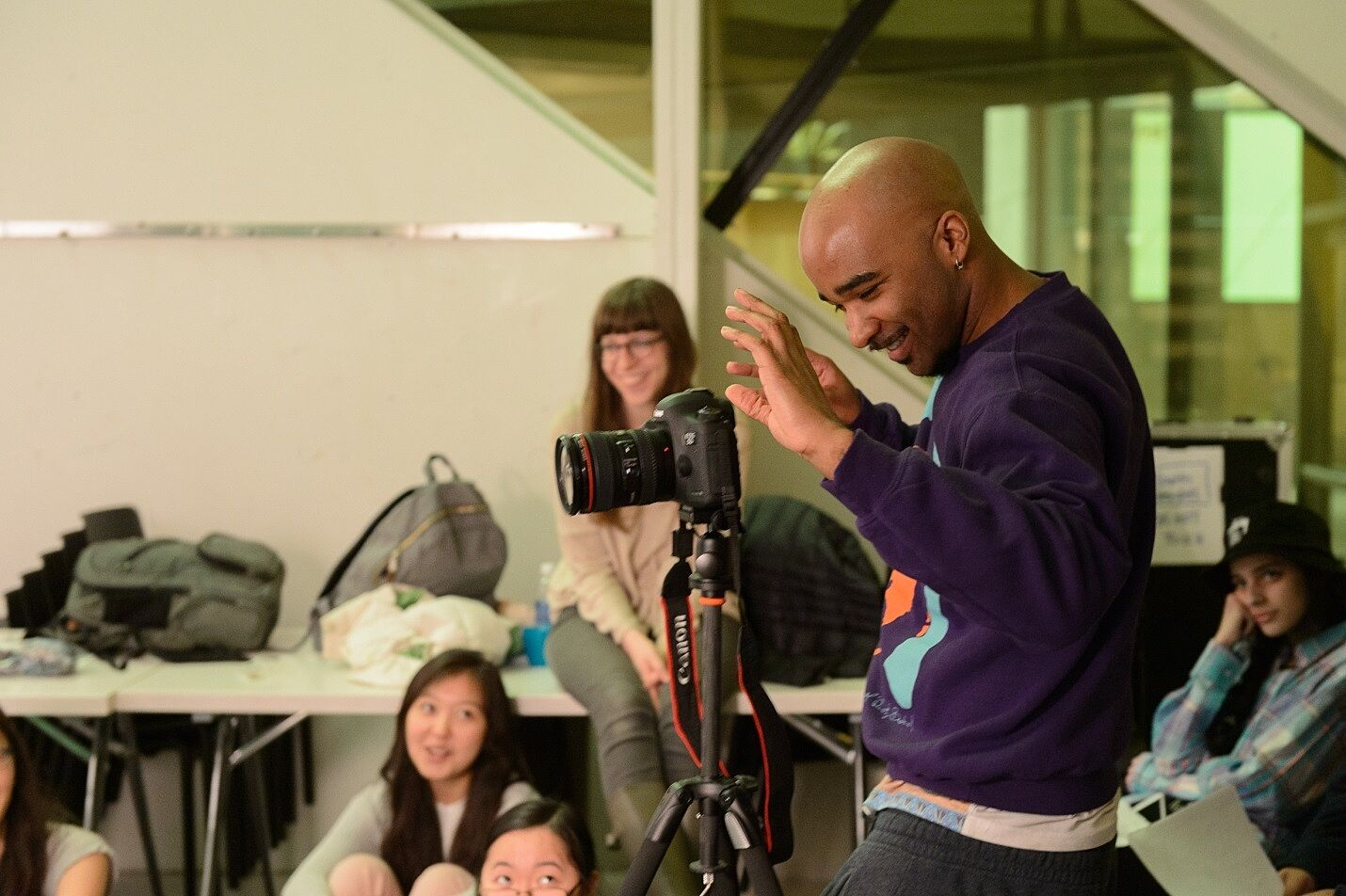 Jacolby Satterwhite, behind the camera in the Whitney Studio