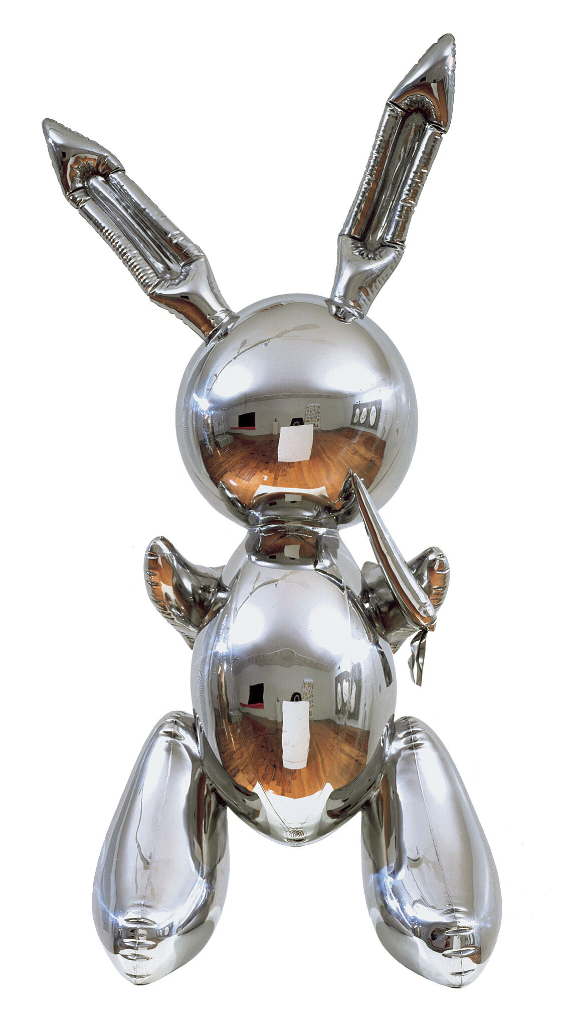 A steel sculpture in the shape of an upright bunny.