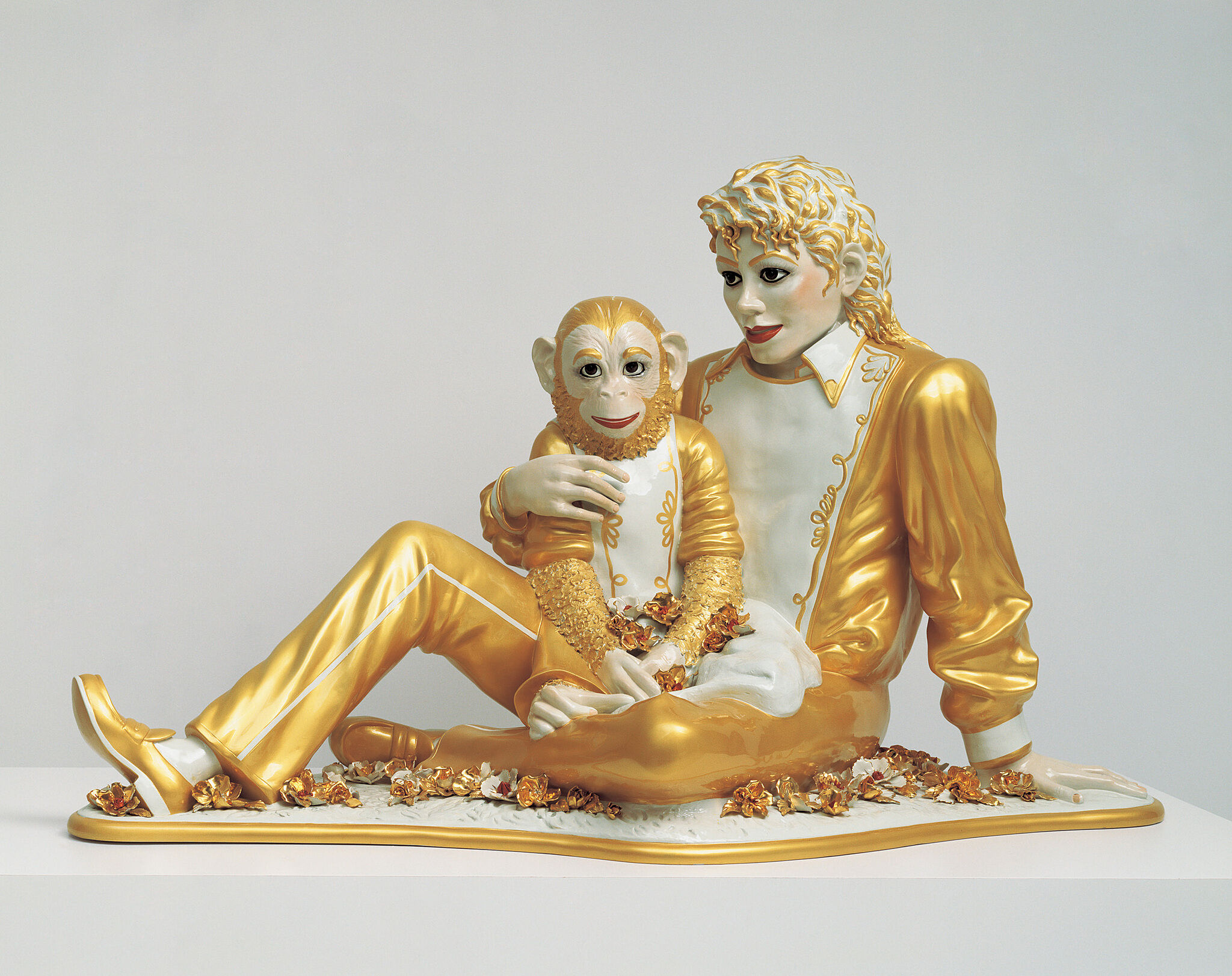 A sculpture of Michael Jackson and his pet chimpanzee Bubbles.