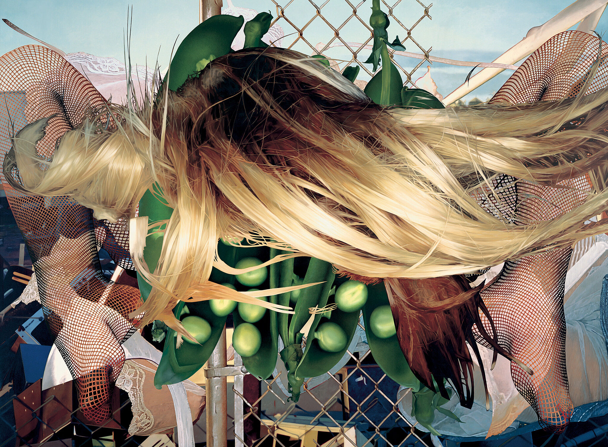 A painting of spread legs, peas in a pod, and long hair collaged over a junkyard.
