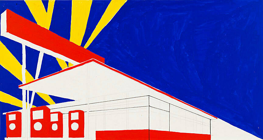 A watercolor of a gas station in primary colors by Ed Ruscha.