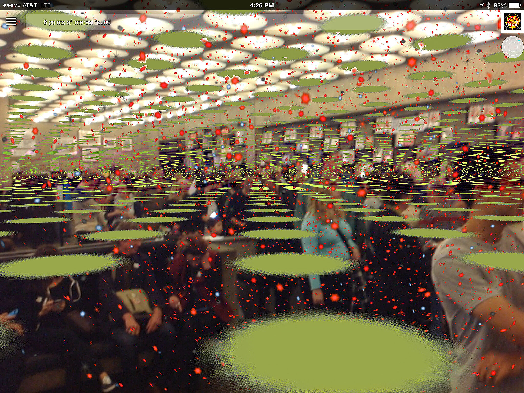 Whitney lobby with red and green dots overlaid.