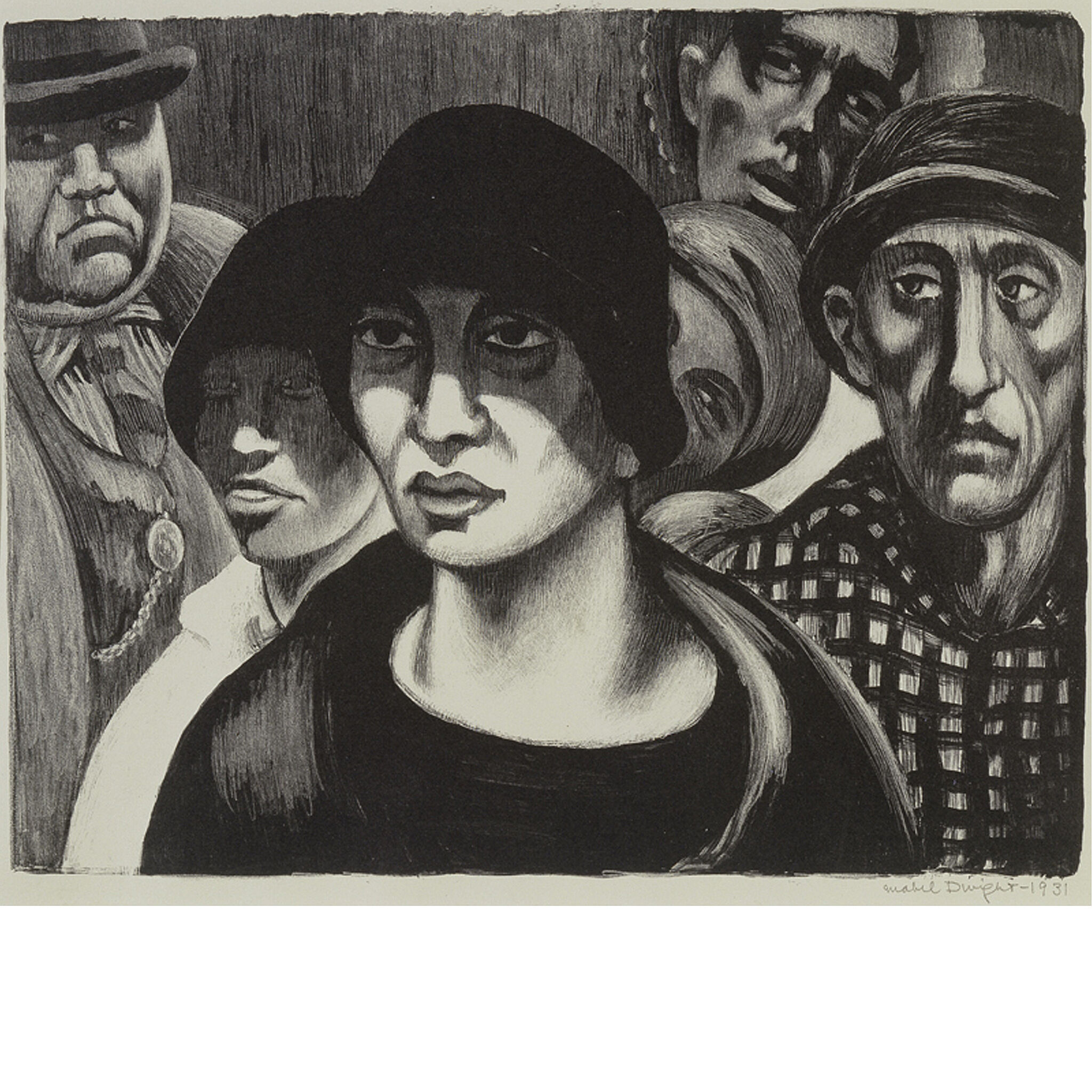 Black and white painting of women in front.