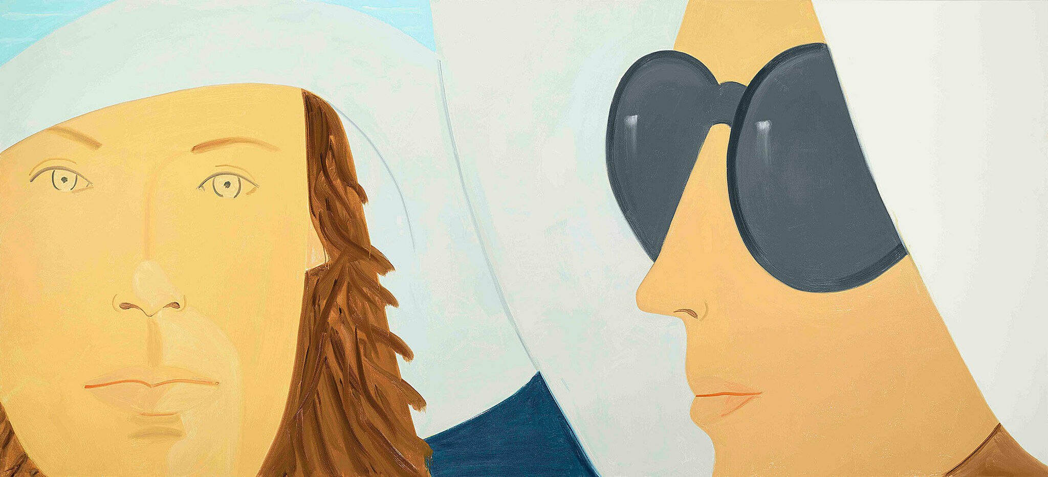 A painting by Alex Katz. Two women, one in sunglasses.