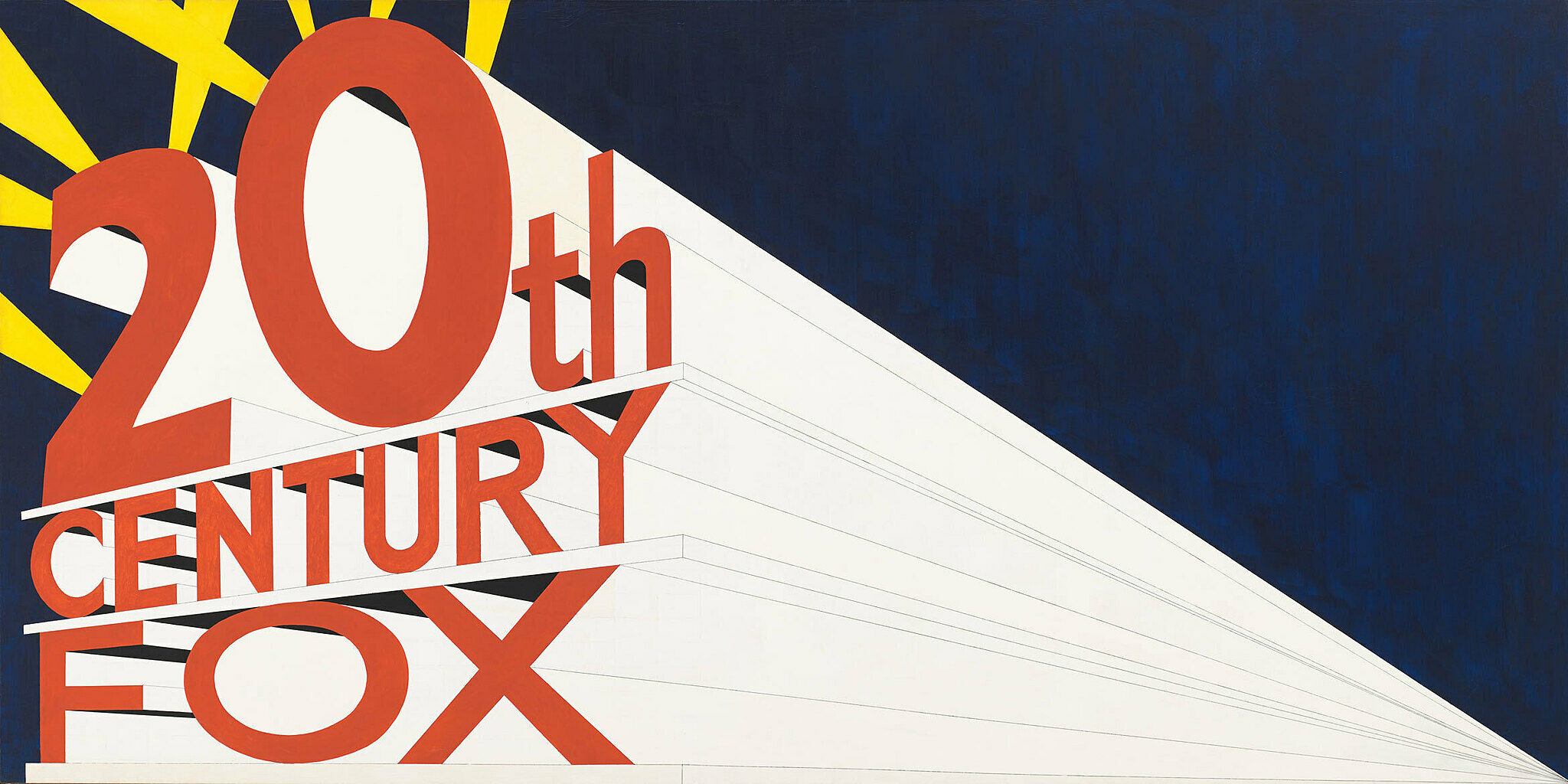 """The words """"20th Century Fox"""" appear on the left in red letters, with lines coming together in the lower right corner, against a navy background with yellow rays emanating out from behind """"20th"""""""