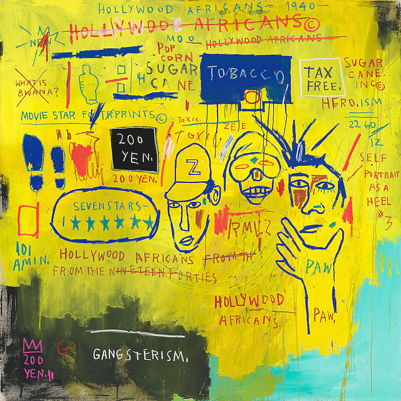 A painting with a yellow background, words written and crossed out, and three faces.