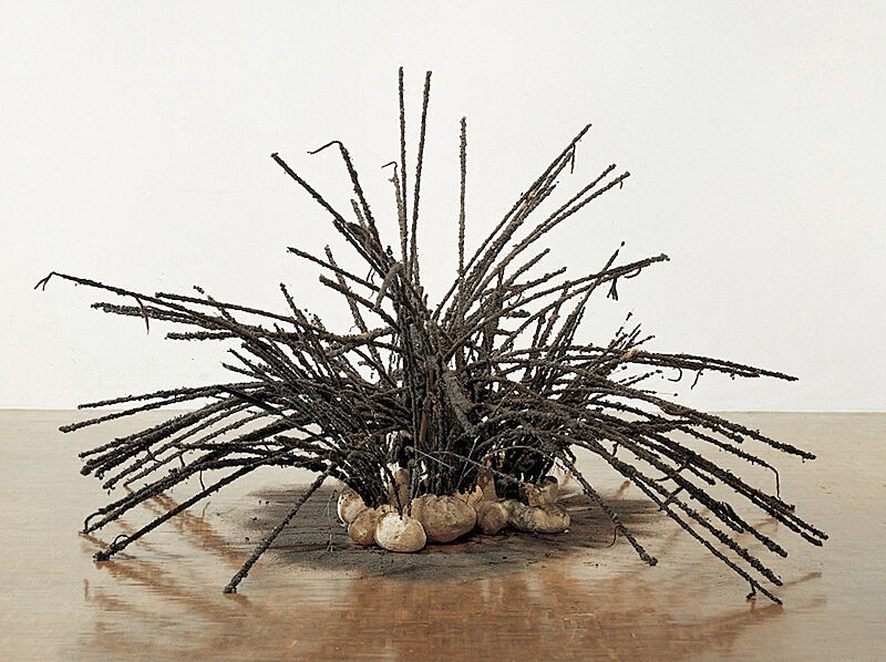 A sculpture of sticks poking out of round objects.