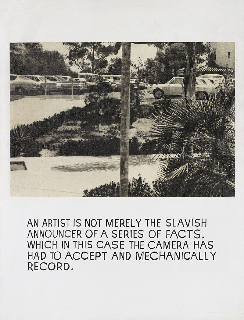"""A print of a parking lot over the text """"an artist is not merely the slavish announcer of a series of facts. which in this case the camera has had to accept and mechanically record."""""""
