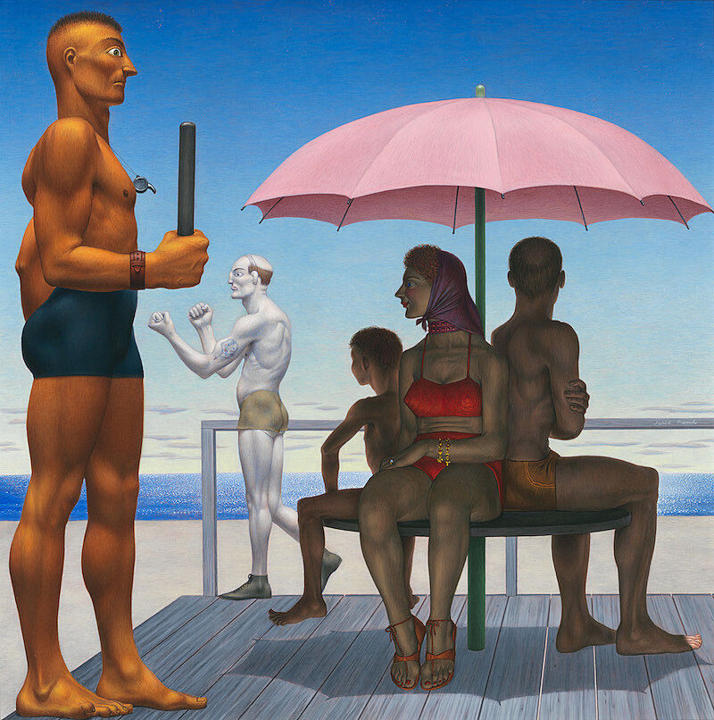 A painting of 5 people at a beach.