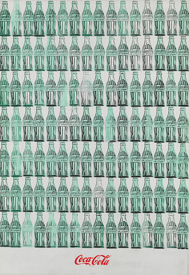 A print showing rows of Coca-Cola bottles with a logo at the bottom.