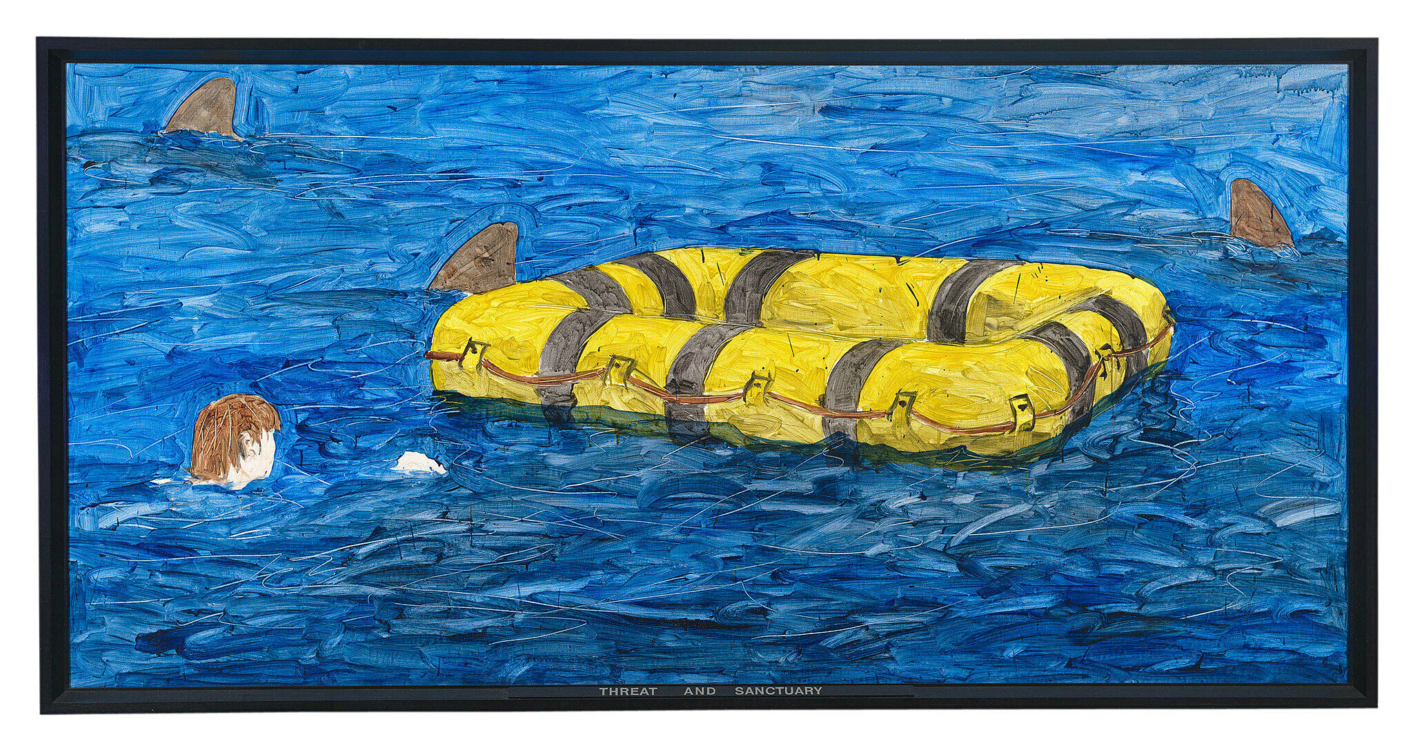 A painting of a person swimming to a life raft surrounded by three shark fins.