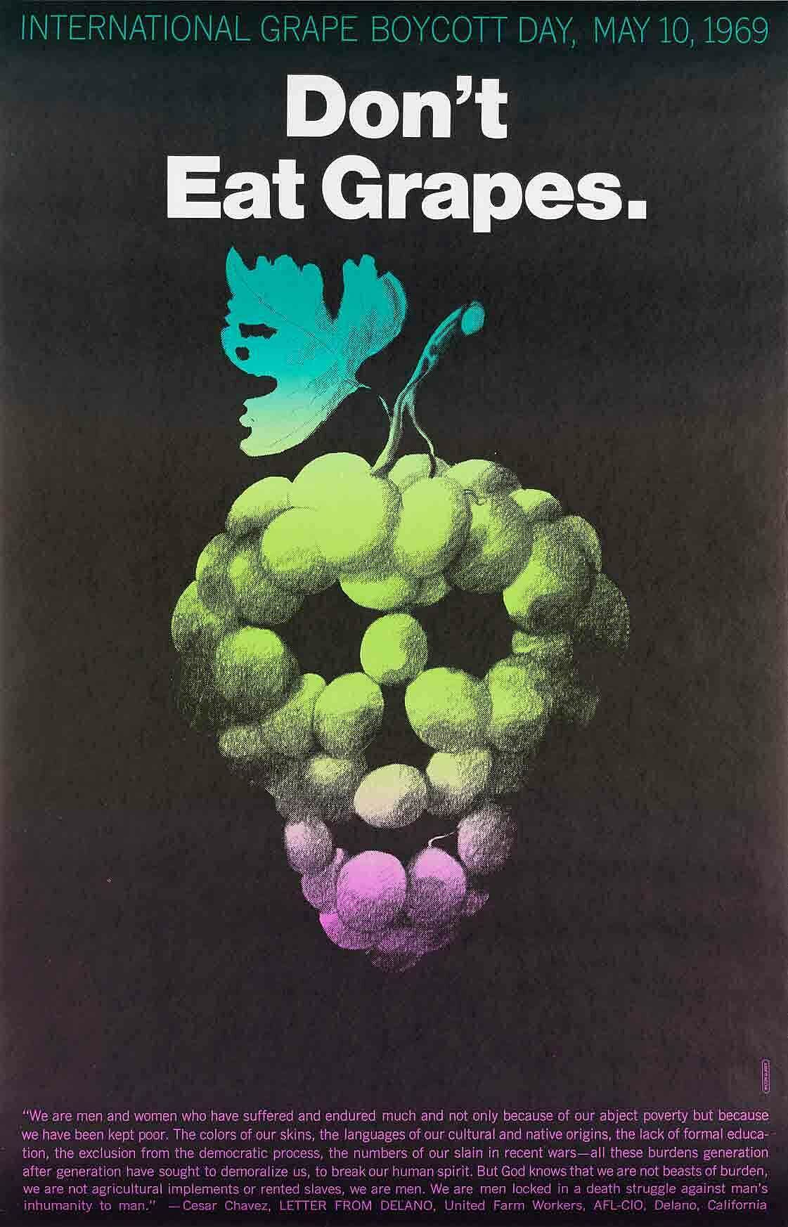 Poster with scull made of grapes.