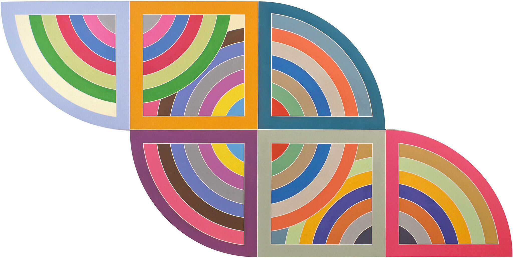 A flat, geometric painting by Frank Stella.