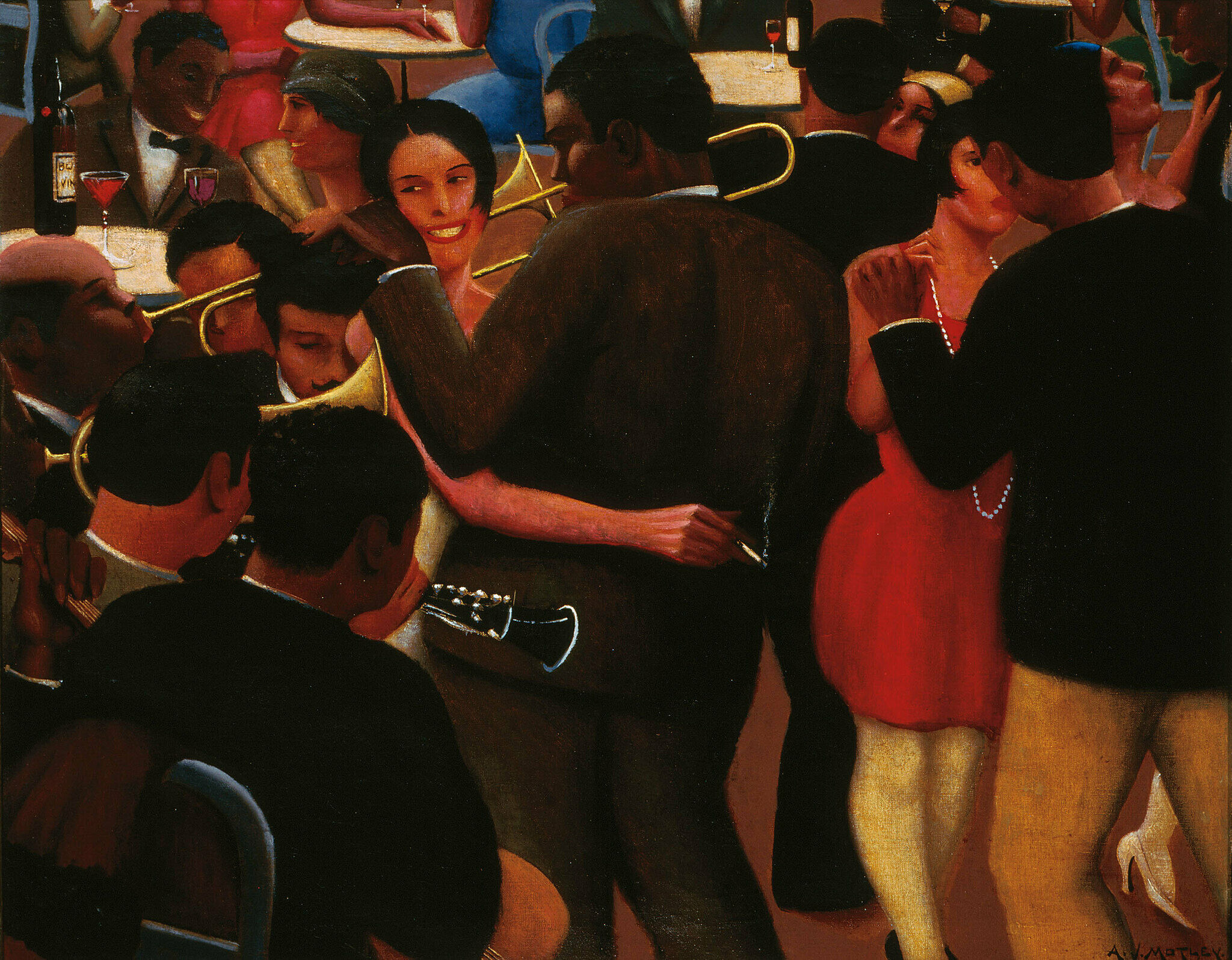 A painting by Archibald Motley. Men and woman dance in a tightly packed crowd.