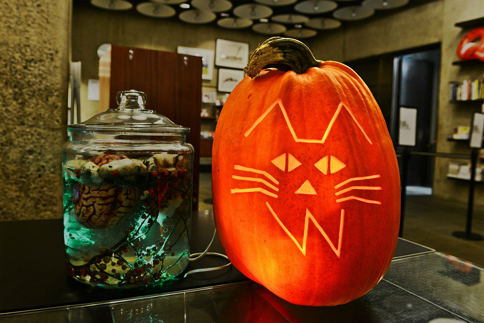 Cat and whitney logo on a pumkin next to a jar with brains in it.