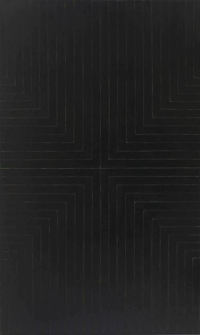 An artwork with straight white lines on a black background.