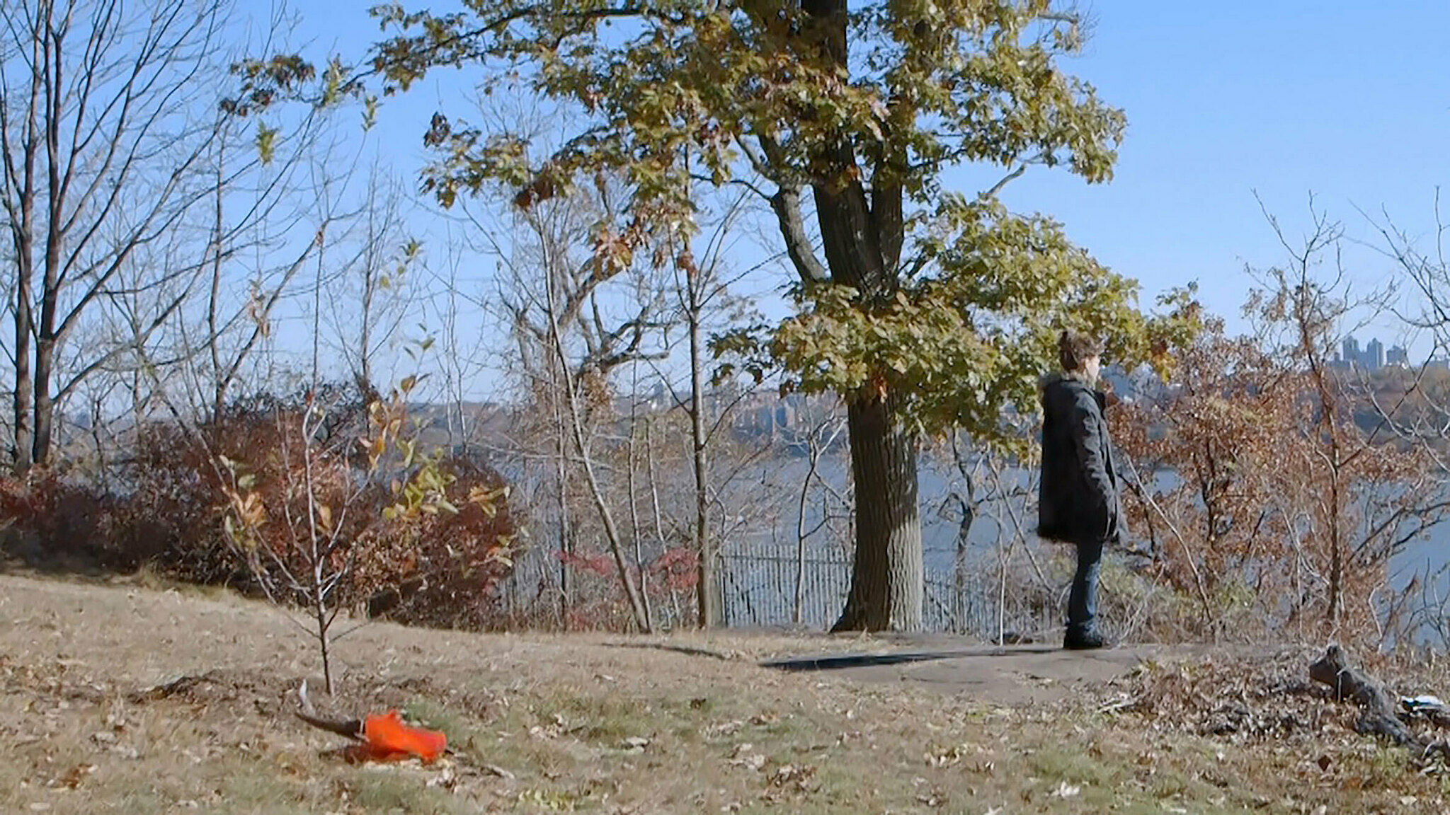 Still of a person standing outdoors looking over a river.