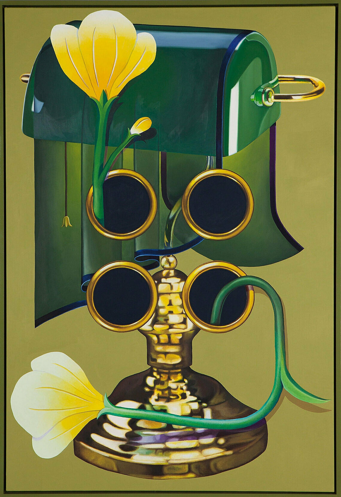A painting by Orion Martin. A lamp, flowers, and flat planes do not spatially resolve.