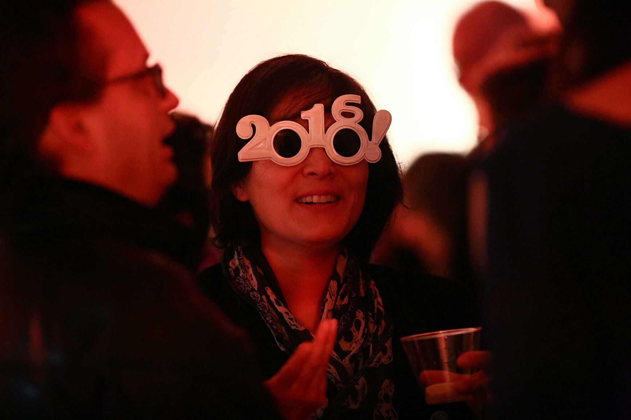 Woman with 2016 glasses.