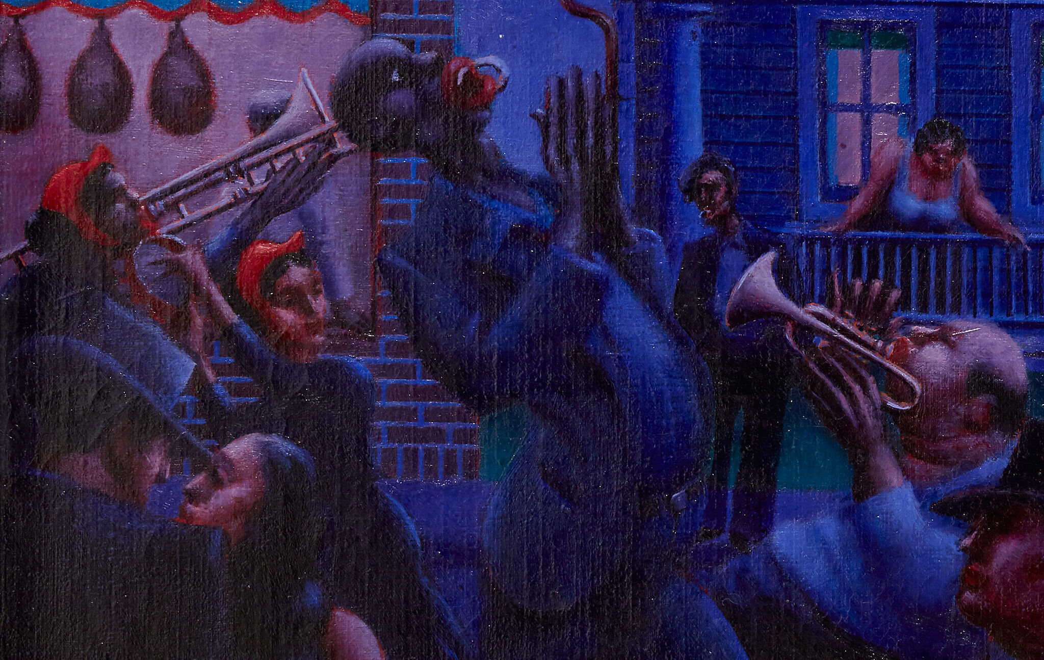 Crowd of musicians portrayed in Archibald John Motley, Jr., (1891–1981), Gettin' Religion, 1948.