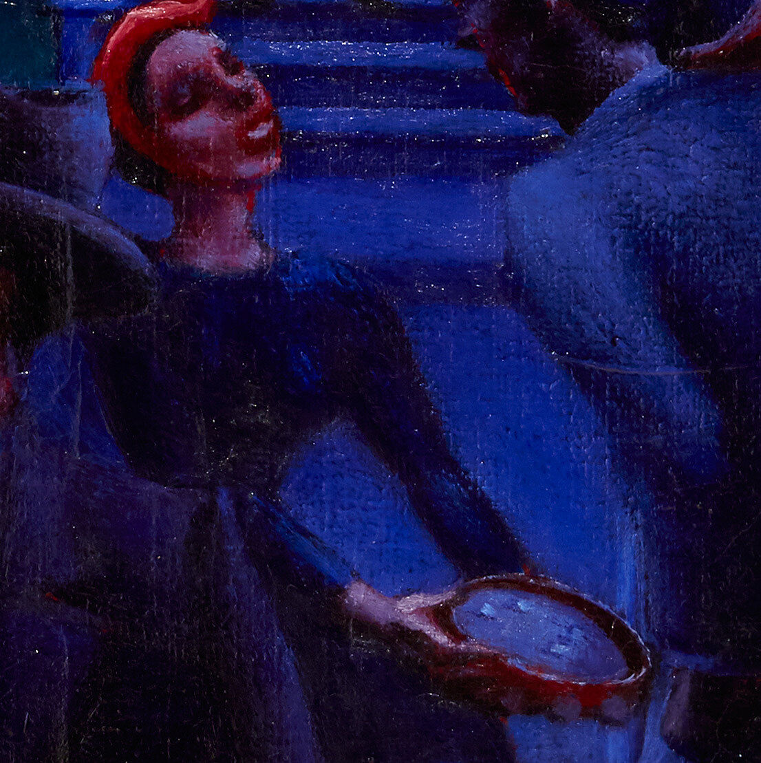 Figure with bonnet and tambourine portrayed in Archibald John Motley, Jr., (1891–1981), Gettin' Religion, 1948. Oil on canvas