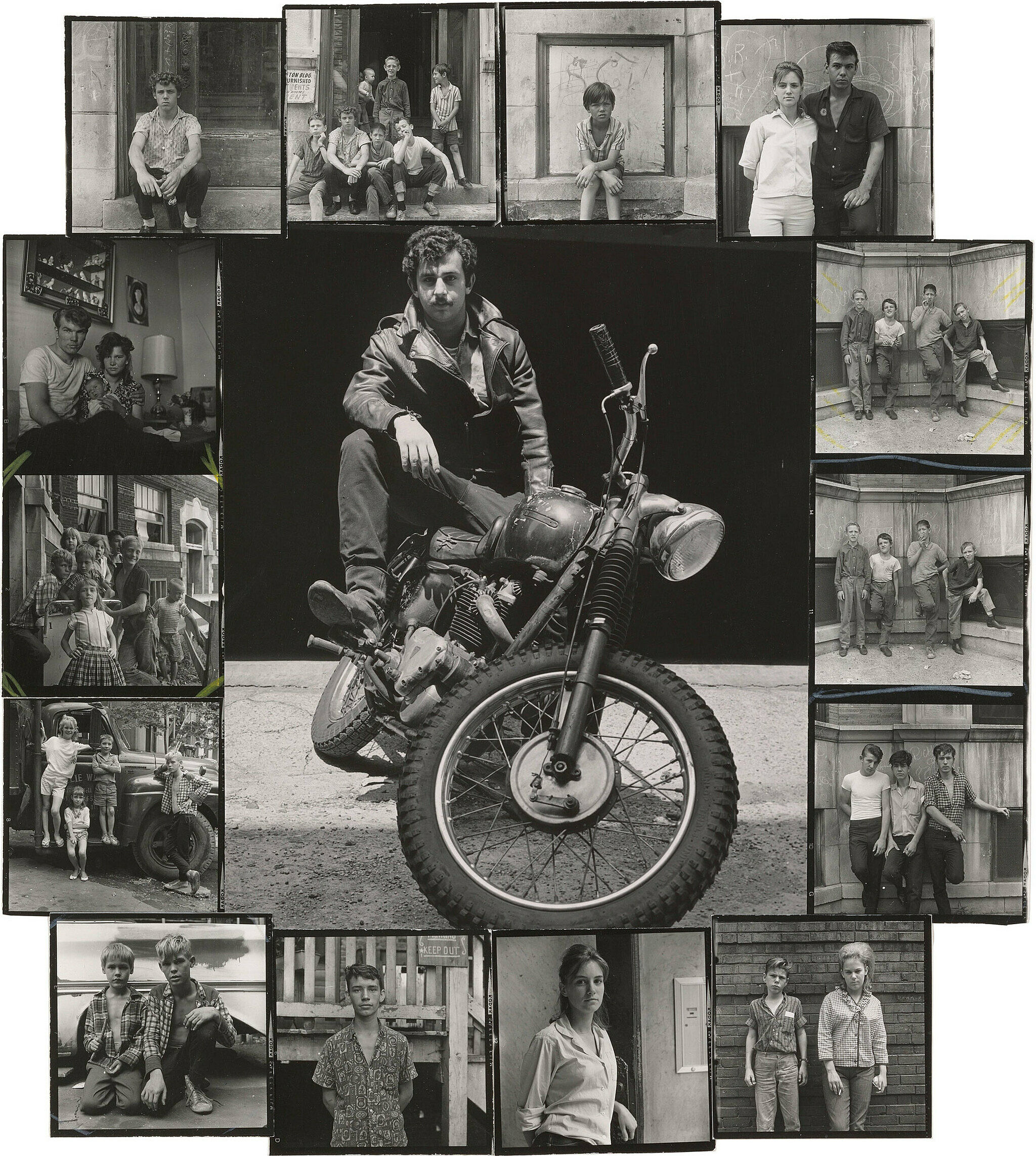 A work by Danny Lyon. Photographs of Men, women, and children posed in interior and exteriors in black and white